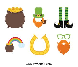 pack of six saint patricks day icons