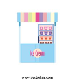 Ice cream market isolated vector design
