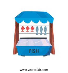 Fish market isolated vector design