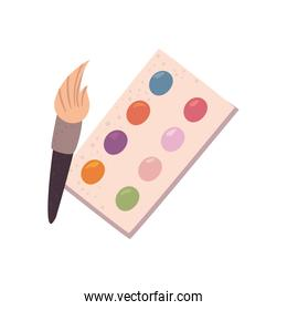 paint palette and brush vector design