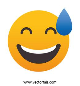icon of Grinning Face with Sweat, colorful design