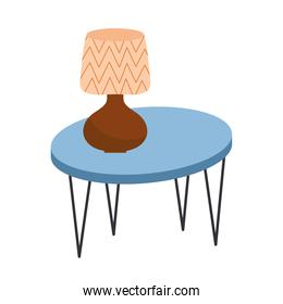 wooden table with lamp forniture icon