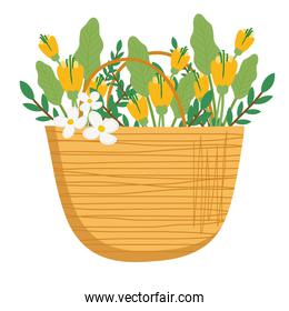 beautiful floral decoration in straw basket
