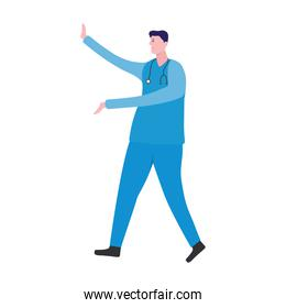 professional doctor with stethoscope character