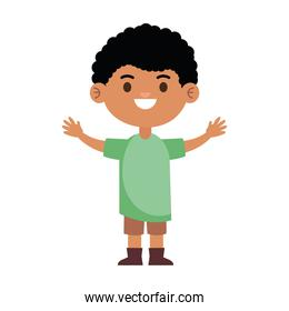 happy little afro young boy with green shirt character