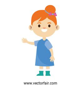 happy little young girl with blue dress character