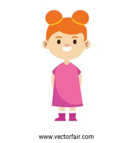 happy little young girl with pink dress character
