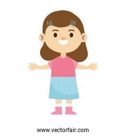 happy little young girl with pink and blue dress character