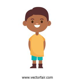 happy little afro young boy with yellow shirt character