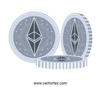 etherum coins crypto currency icon