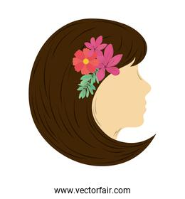 womens day head woman with flowers in hair