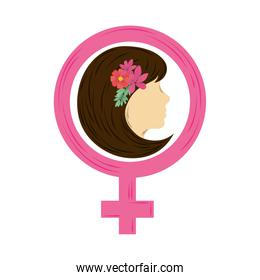 womens day head woman with flowers inside gender symbol