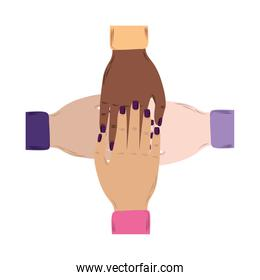 womens day, diverse female hands together strong