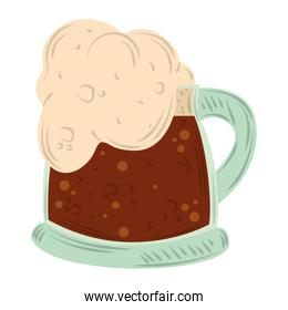mug with cold beer icon flat vector