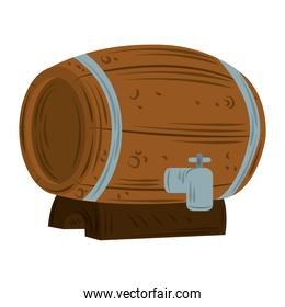 wooden beer barrel with tap icon flat vector