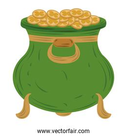 happy st patricks day green cauldron with coins icon flat vector