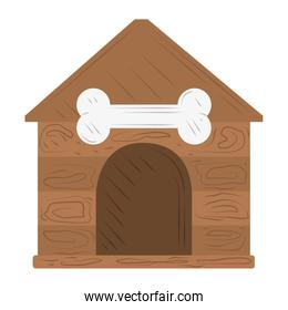 pet wooden house with bone white background