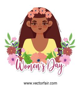Womens Day cute girl with flowers in hair portrait