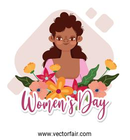 Womens Day beauty afro girl with flowers card