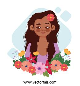 cartoon cute girl with flower in head