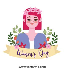 Womens Day beauty girl with pink flowers on her head in cartoon