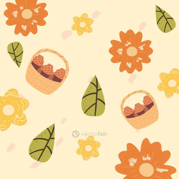 Cupcakes in baskets with flowers and leaves background vector design