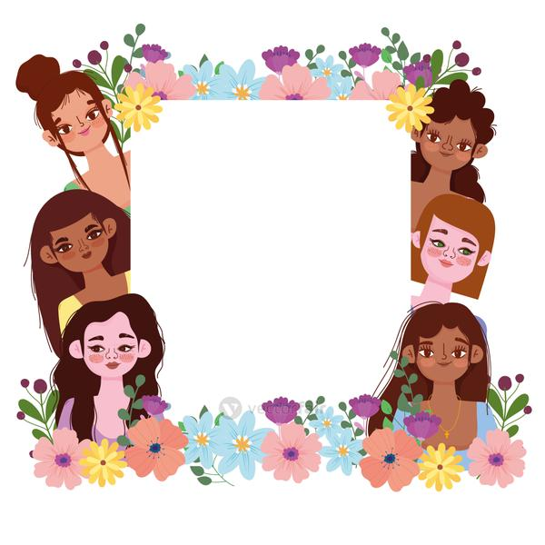 Womens Day beauty group female flowers frame decoration banner