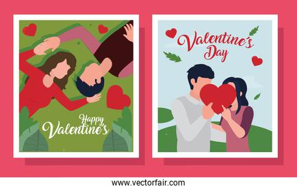 Happy valentines day couple in cards collection vector design