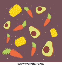 Healthy and organic food symbol collection vector design