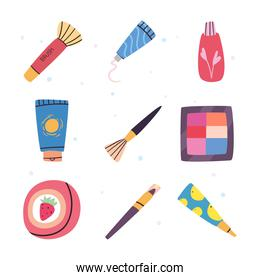 Make up and cosmetic icon collection vector design