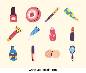 Make up and cosmetic collection vector design