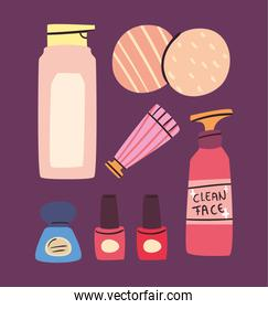 Make up and cosmetic icon group vector design