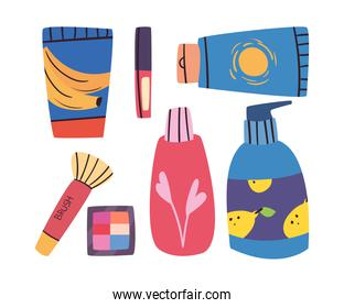 Make up and cosmetic symbol group vector design