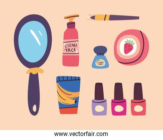 Make up and cosmetic icon bundle vector design