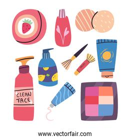 Make up and cosmetic set of icons vector design