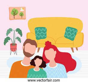 love family members characters together in livingroom