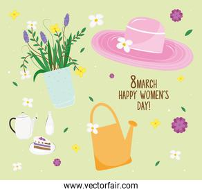 happy womens day lettering card with set icons