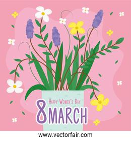 happy womens day lettering card with flowers in ceramic pot