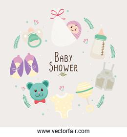 baby shower lettering card with set icons around