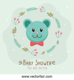 baby shower lettering card with little bear