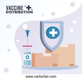 vaccine distribution logistics theme with boxes and vial