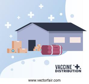 vaccine distribution logistics theme with warehouse, deep freezer and boxes