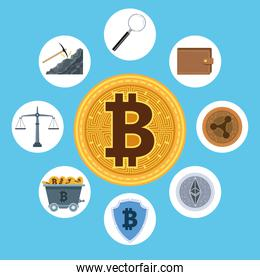 bitcoin and cyber money technology icons around