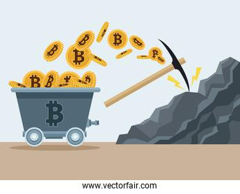 bitcoins in mine wagon and pick in rock icons