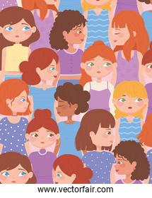 female diverse faces cartoon characters background