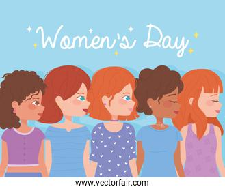 womens day happy smiling profile of group female cartoon