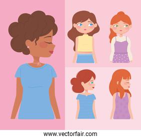 portrait and profile young women cartoon