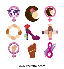 womens day icons set, world gender woman shoe eight