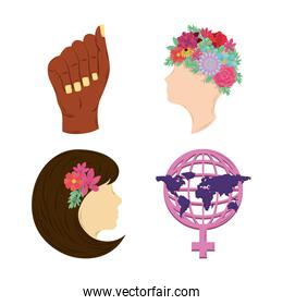 womens day icons set, hand world gender woman head flowers
