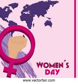 womens day, female hand gender sign and world map background card